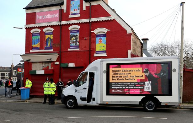 Sunday: Mobile Billboard Calling on Liverpool FC Owner to Drop Controversial Deal With Chinese Company, Tibet Water, to tour the city ahead of Manchester City Match