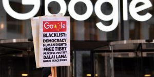 Protest outside Google office in London puts pressure on Google executives to end controversial Project Dragonfly