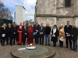 Tibet Society Holds Wreath Laying Ceremony At Westminster Abbey